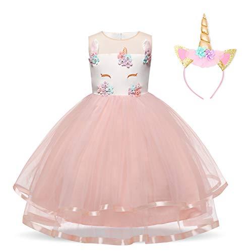TTYAOVO Vestido de Fiesta Princesa Niña Vestido de Flores con la Diadema de la Fiesta de la Princesa del Tutú Tulle sin Mangas del Unicornio de Las Niñas 3-4 Años Rosado