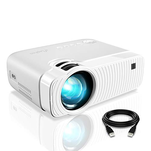 "ELEPHAS Projector, GC333 Portable Projector with 4500 Lumens and Full HD 1080p, 180"" Display and 50000 Hours Lamp Life LED Video Projector, Compatible with USB/HD/Sd/Av/VGA for Home Theater, White"