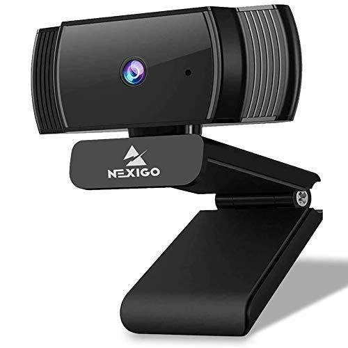 2020 AutoFocus 1080p Streaming Webcam with Stereo Microphone and Privacy Cover, NexiGo FHD USB Web Camera, for Online Class, Zoom Meeting Skype Facetime Teams, PC Mac Laptop Desktop
