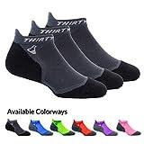 Thirty48 Ultralight Athletic Running Socks for Men and Women with Seamless Toe, Moisture Wicking, Cushion Padding (Large - Women 9-10.5 // Men 10-11.5, [3 Pairs] Black/Gray)