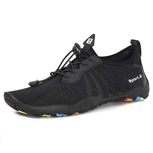 Water Shoes Mens Womens Quick Dry Sports Aqua Shoes Unisex Swim Shoes with Drainage Holes for Swim,Walking,Yoga,Lake,Beach,Garden,Driving,Boating(Speed Laces Black, 3.5UK)