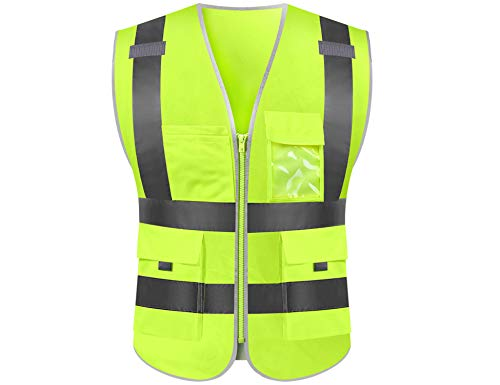 Reflective safety vest high visibility reflective tape with pockets and front zipper class 2 (Large, Lime)