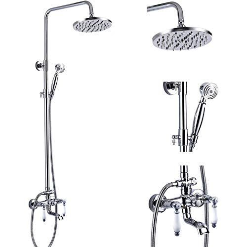 Polish Chrome Shower Faucet Set 8-inch Shower Head with Handheld Spray Double Lever Handle Tub Spout Triple...