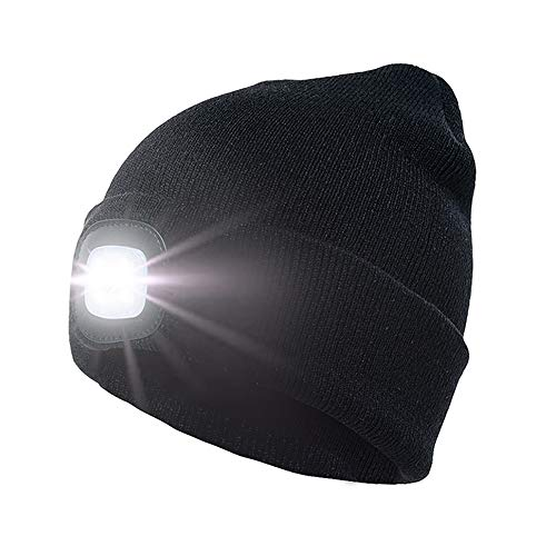 enjoydeal Led Beanie Hat,4 LED Knit Hat Rechargeable Hat Light Beanie Hands Free Headlamp Cap for Hunting,Camping,Grilling Running,Black