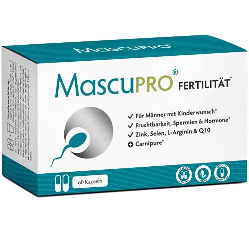 MascuPRO® Fertilität Mann - Fruchtbarkeit - Spermienproduktion + 60 Kapseln + L-Carnitin, L- Arginin, Zink + Vitamine Mann Kinderwunsch