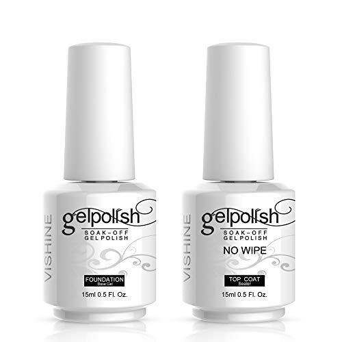 Vishine 15ml No Wipe Top Coat Base Coat Gel Nail Polish Soak off UV LED Drying Long Lasting Shiny Nail Varnish Set