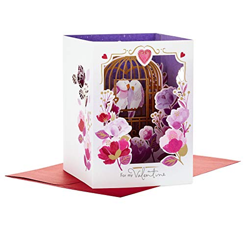 Hallmark Paper Wonder Displayable Pop Up Valentines Day Card for Significant Other (Love Birds Valentine)