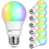 Smart Light Bulbs, 6-Pack Smart WiFi Bulbs That Work with Alexa, 12W A19 RGB Dimmable LED Smart Bulb Google Home, 1100Lumens, 2.4GHz, Color Changing Light Bulb Compatible with Echo, No Hub Required