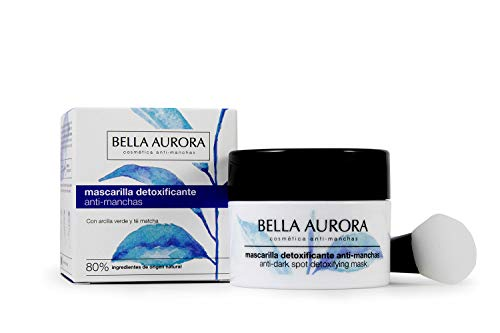 Bella Aurora Mascarilla Facial Detoxificante Anti-Manchas, Mascarilla Natural, Elimina Impurezas y Reduce los Poros, Ilumina y Unifica el Tono, Textura Cremosa, 75 ml