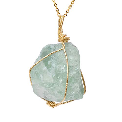CXD-GEM Wire Wrapped Raw Gemstone Crystal Pendant Necklace...