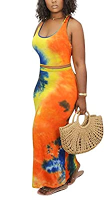 Material: Polyester, lightweight, breathable, soft and stretchy to wear, show your best curve. Feature: Summer 2 piece bodycon dresses, sleeveless, scoop neck tank top crop top, elastic waist, high waisted midi maxi skirt set. Gradient multicolor pri...