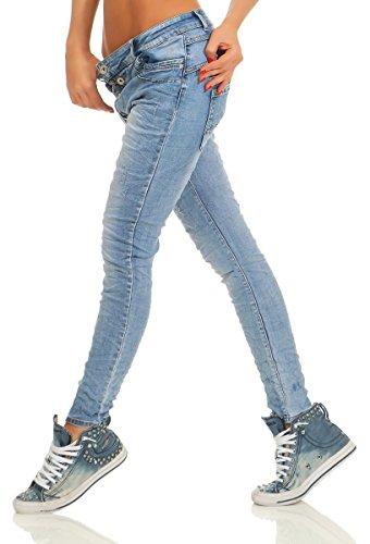 Fashion4Young-11105-Damen-Jeans-Hose-Boyfriend-Baggy-Haremsjeans-Slim-fit-Rhre-Damenjeans-Pants-blau-XS-34