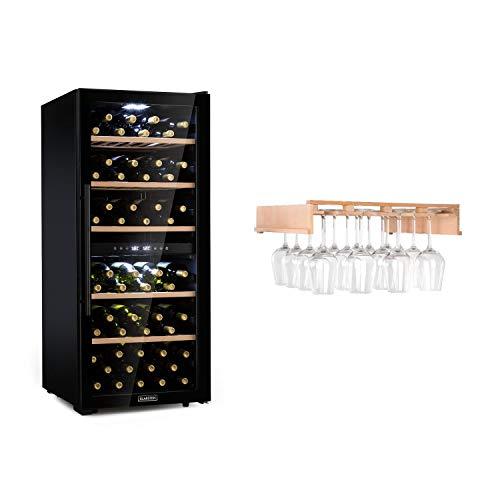 KLARSTEIN Barossa 102D - Set con Calici per Vino, Set Cantinetta Vino e Calici, Frigorifero per Vini a Compressione, 102 Bottiglie, 5-18 C, 2 Zone, Controllo Touch, Vetro Frontale, Nero