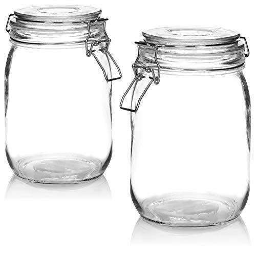 COM-FOUR® 2x Tarro de masón con cierre de clip - Tarros de almacenamiento con anillo de goma - Tarro de almacenamiento hermético, 1000 ml