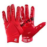 Men's Football Gloves - EliteTek RG-14 Super Tight Fitting Football Gloves - Easy Slip On Design No Wrist Strap for Men (Red, Adult M)