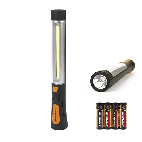 EverBrite 150 Lumens LED Work Light - Handheld Flashlight, 180° Pivoting 2-in-1 with Hanging Hook and Magnetic Base, Batteries Included