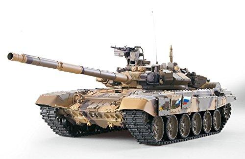 ES-TOYS Panzer ferngesteuert mit Schussfunktion Russland T90 Heng Long 1:16 mit Rauch&Sound und Stahlgetriebe -2,4Ghz - V6.0