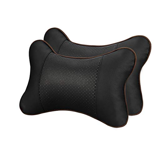 GUSODOR Car Neck Pillow Breathable Auto Head Neck Rest Cushion Relax Neck Support Headrest Comfortable Soft Pillows for Travel Car Seat & Home, Set of 2[Black]