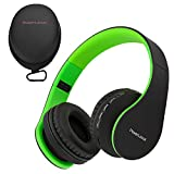PowerLocus Wireless Bluetooth Over-Ear Stereo Foldable Headphones, Wired Headsets with Built-in Microphone for iPhone, Samsung, LG, iPad (Black/Green)