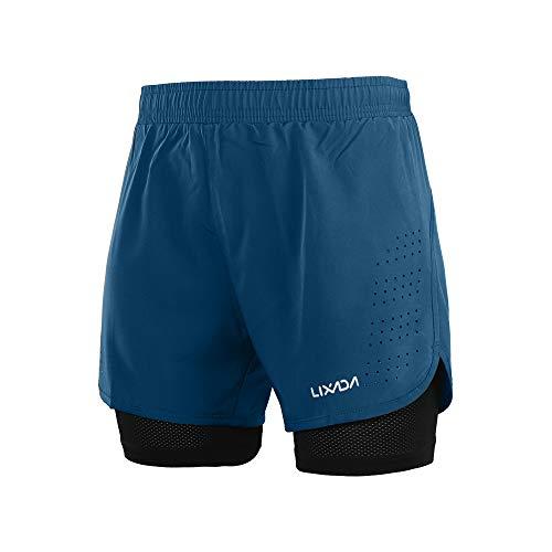 Lixada Pantaloncini da Running da Uomo, Pantaloncini da Corsa 2 in 1, Asciugatura Rapida,...