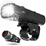 USB Rechargeable Bike Light Set, Runtime 8+ Hours 400 Lumen Super Bright Headlight Front Lights and Back Rear LED, 4 Light Mode Fits All Bicycles, Mountain, Road