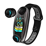 Dacyflower 2019 Newest 2 in 1 Smart Wristbands Wireless Bluetooth 5.0 Earphone,Fitness Tracker Blood Pressure Heart Rate Pedometer Bracelet TWS Mini Invisible Earbuds