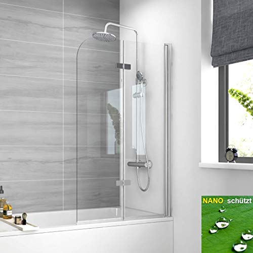 Meykoers Duschabtrennung 120x140cm Faltwand für Badewanne, Duschwand Badewannenaufsatz mit 6mm Nano Easy Clean Glas