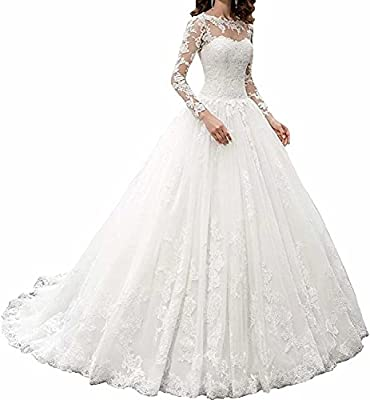 Fabric:High Quality Lace Tulle & Satin Lining fabric Design:floor length, long sleeves ,empire Please refer to OUR size chart displayed next to the main item images, if you are not standard size, please tell us your exact measurements We will send me...