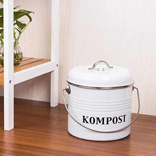 Corwar 5 Liter Bio Küchen Mülleimer und geruchsdichter Komposter Komposter Eimer aus Metall mit Aktivkohlefilter robustere Komposteimer Abfallbehälter excellently