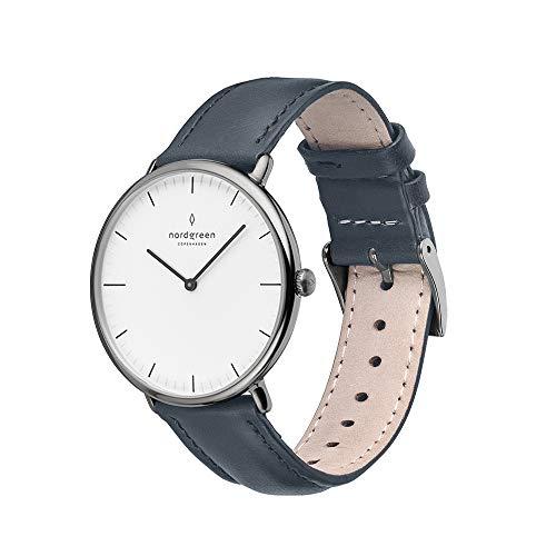 Nordgreen Native skandinavische Uhr in Anthrazit mit weißem Ziffernblatt und austauschbarem 36mm Leder Armband Navy Blau 16027