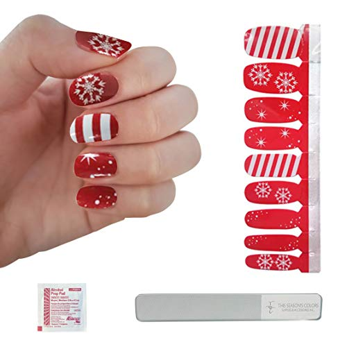 Red Wonderland of White Snowflake & Candy Cane Stripe Nail Polish Strips   This Season's Colors   Winter, Holiday, Christmas   Convenient Salon Quality Manicures & Pedicures for Women, Teens & Kids
