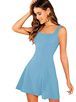 Sleeveless,A Line,Straps, Scoop Neck ,Summer Dress Suit for party, night out and so on Fabric has some stretch Machine Washable or Hand Washable Please read the size chart in the picture carefully before order