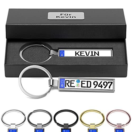 Bl4ckPrint Schlüsselanhänger Kennzeichen Nummernschild mit Geschenkbox personalisierte Gravur Auto...