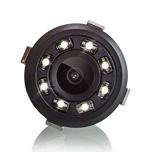 XOMAX XM-018 Retrocamera / Telecamera per retromarcia con 8 LED luci + Comoda e sicura per parcheggiare + Ampio angolo di visione 170° + PAL + RCA connettore + DC 12V