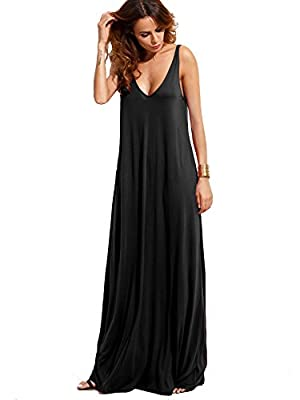 Double V-Cut Design Front and Back, Flowy Beach Cami Maxi Dress Tank top Type, Sleeveless, Casual Loose Fit, Floor Length Perfect dress for casual, pregnancy, wedding, party, vacation, streetwear, cocktail, daily life. Soft and comfortable. Fabric is...