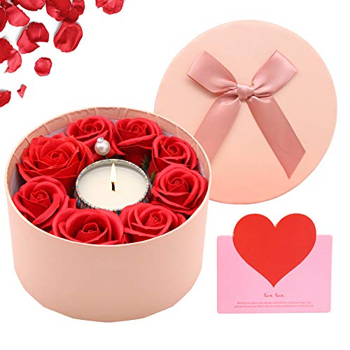 AYUQI Birthday Gift for Women, Beloved Soap Rose Flower with Scented Candle in Gift Box, Romantic Present for Her on Mothers Day, Anniversary, Confession,Valentines Day