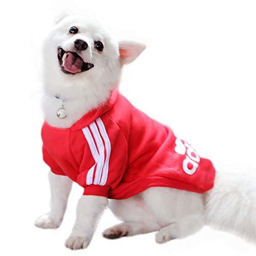 Eastlion Adidog Hund Pullover Welpen-T-Shirt Warm Pullover Mantel Pet Kleidung Bekleidung, Rot, Gr. S