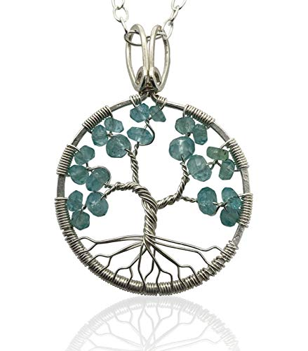 Aquamarine Tree Of Life Pendant, 4th Anniversary, March...