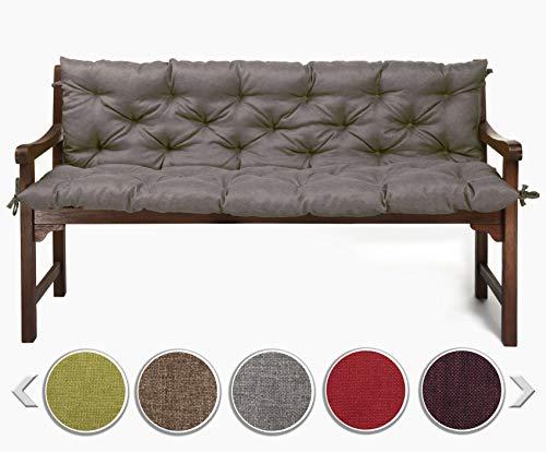 sunnypillow Bankauflage Stuhlkissen Bankkissen 140 x 50 x 50 cm Sitzkissen und Rückenkissen für Hollywoodschaukel Polsterauflage Auflage für Gartenbank viele Farben und Größen zur Auswahl Grau