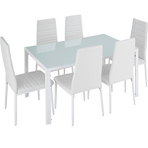 TecTake Esszimmergruppe mit Esstisch und 6 Essstühlen | Strapazierfähiges Kunstleder | Robuste Tischplatte aus Sicherheitsglas - Diverse Farben (Weiß | Nr. 402840)