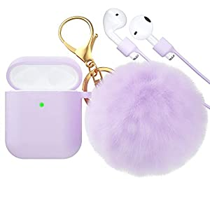 【Pretty Cute】:Airpods case with keychain,super cute Artificial Fur ball with nice soft touching,perfect airpods accessories for fashion girls and women can win more attentions and attraction,compitable with Airpods 2 and 1 【Practical and convenient】:...