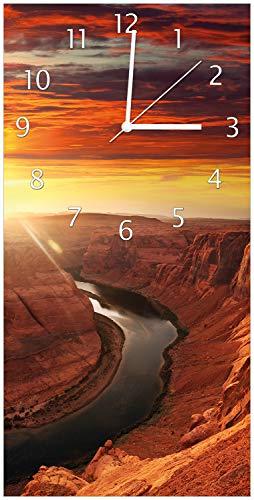 Wallario Design Wanduhr Grand Canyon bei Sonnenuntergang aus Acrylglas, Größe 30 x 60 cm, weiße Zeiger