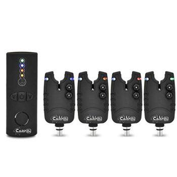 CarpOn® Tackle Lot de 4 détecteurs de touche sans fil avec aiguilles lumineuses LED Idéal pour la pêche à la carpe (4 alarmes de touche + 1 récepteur)