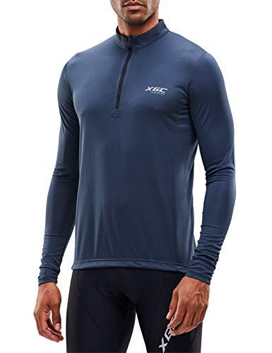 XGC Herren Langarm Radtrikot Fahrradtrikot Radshirt Fahrradshirts Fahrradbekleidung für Männer mit Elastische Atmungsaktive Schnell Trocknen Stoff (Grey, L)