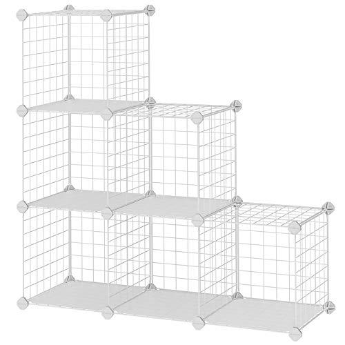 SONGMICS Armadietto Scaffale DIY scaffalatura modulare Interconnesso 6 Cubi Rete Metallica bianco Armadio Scaffale 63 x 31 x 93 cm (L x P x A) LPI111W