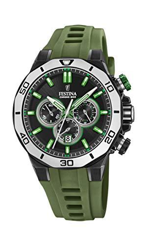 Festina Unisex Erwachsene Chronograph Quarz Uhr mit Silikon Armband F20450/4