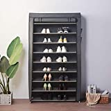 Blissun 10 Tiers Shoe Rack Shoe Storage Organizer Cabinet Tower with Non-Woven Fabric Cover (Grey)