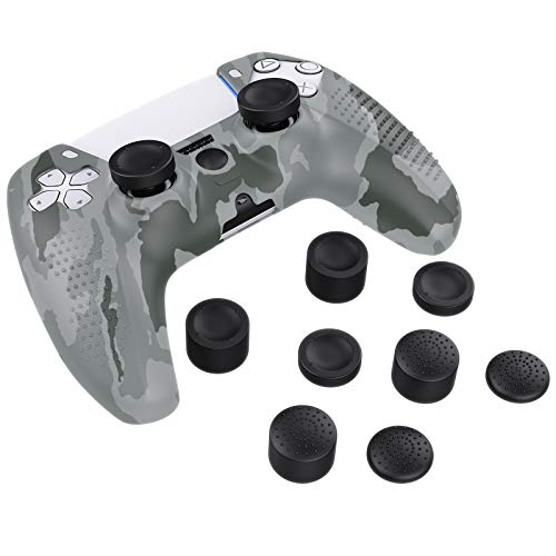 MoKo Case for PS5 Controller Skin, Silicone Cover Skin Case with 8 Thumb Grip Caps, Shock-Absorption...