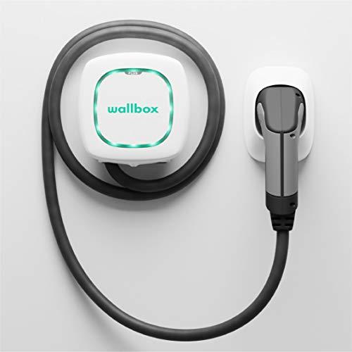 Wallbox Pulsar Plus Cargador para Coches eléctricos. Tipo 2. Potencia máxima 22 kW. (Blanco, Cable 7 m)