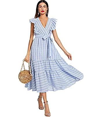 Material: 65% Cotton, 35% Polyester; fabric has no stretch. Feature: striped or solid, wrap v neck, high waist, maxi length, ruffle trim, cap sleeves. Occasion: wedding, party, Christmas eve, homecoming, beach, office, church, picnic. Match: It is gr...